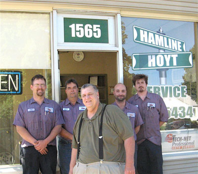 The Hamline-Hoyt Service staff with Steve Horazdovsky foreground, from left, Joe Solheid, Kevin Loftus, Dave Moffat and Jason Bishop. (Park Bugle photo by Roger Bergerson)