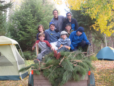 Scouts on the late-October camping trip where they gathered the greens needed for their wreath-making enterprise: (front row, from left) Jackson Lee, Caleb Andrew and William Farley; (middle row) Nick Jacobsen, Brian Whelan and Erik Lucas; and (back row) John Proper and Liam Anderson.