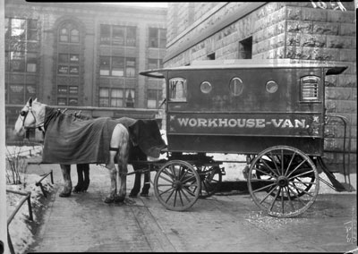 "Criminals sentenced to the workhouse could look forward to a ride out to ""the summer resort by the lake"" in the Black Maria, a horse-drawn workhouse van. (Minnesota Historical Society)"