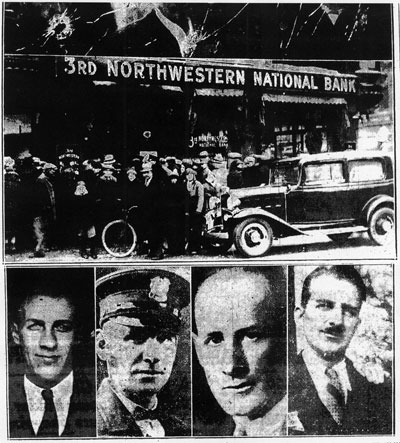 Arthur Zachman (left), Minneapolis police officers Leo Gorsky and Ira Evans, and Oscar Erickson. (St. Paul Dispatch, December 17, 1932 Minnesota Historical Society)
