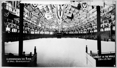 In its day, the Hippodrome ice sheet was considered the largest in the world. (Minnesota Historical Society)