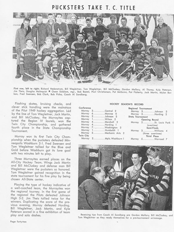 From Murray's yearbook: 1948-49 team picture with Tom Wegleitner, a close up of him at lower right, and copy about his All-Tournament selection.