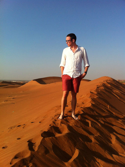 NYU Abu Dhabi sophomore Dean Shaff on a desert dune. (Photo by Raj-Krishan Mistry )