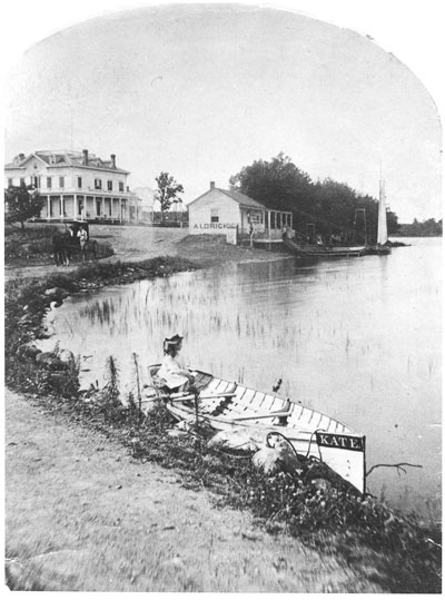 When Lake Como was promoted as a resort destination, William B. Aldrich owned its most prominent hotel, the Aldrich Hotel, located near the site of today's Lakeside Pavilion. It was known as the Lake Como House when it burned to the ground in 1883. (Minnesota Historical Society)