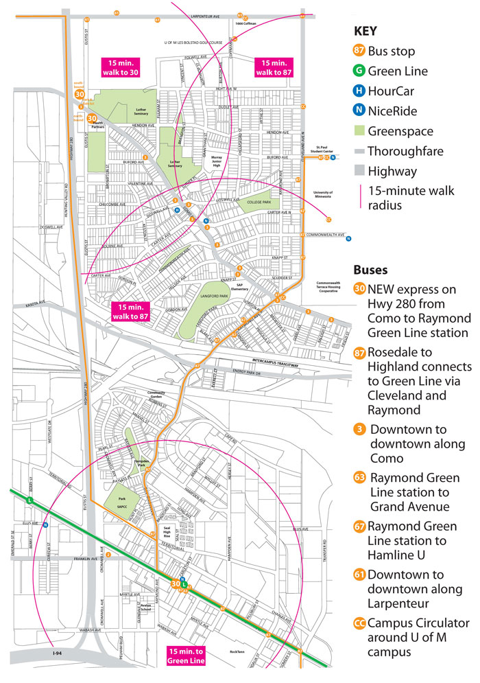 "St. Anthony Park resident Pat Thompson created this map to show ""that just about everyone in north St. Anthony Park is within a 15-minute walk of a bus that connects to the Raymond Avenue Green Line Station."""