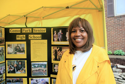 Theresa Neal made one of her first public appearances as Como Park Senior High School's new principal at the St. Anthony Park Arts Festival on June 7. (Park Bugle photo by Kristal Leebrick)