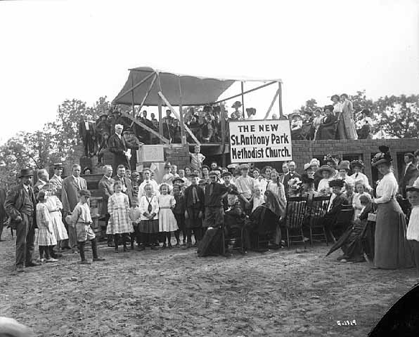 The congregation from St. Anthony Park United Methodist Church lays the cornerstone for the new church at 2200 Hillside Ave. in 1911.