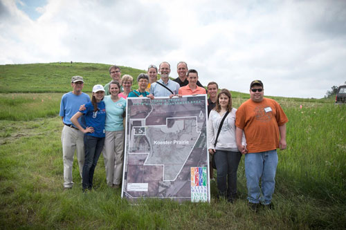 It was a family celebration at the dedication of the new preserve. Left to right: Rich Thomasgard, Ingrid Koester, Paula Thomasgard and Todd, Kate, Nancy, Maren, Craig, Scott, Bjorn, Austin, Stephanie and Matthew Koester. (Photo courtesy of the Trust for Public Land)