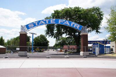 The entrance to the West End Market is marked by an arch that once welcomed streetcar riders to the fair. (Photo courtesy of the Minnesota State Fair)