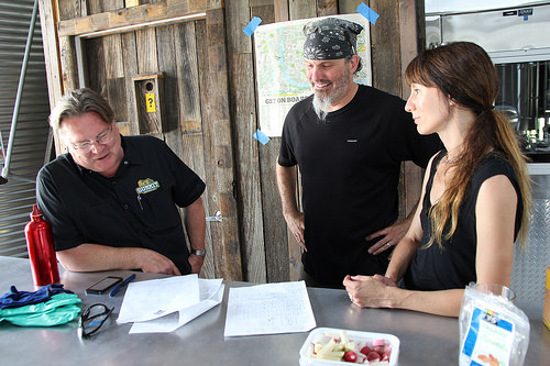 Summit Owner Mark Stutrud (left) recipe planning with Jay and Sandy Boss Febbo, owners of Bang Brewing Co. (Photo by Chip Walton, Summit Brewing Co.)