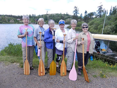 The wilderness trekkers, from left: Michelle Christianson, Nancy Nelson, Kathy Wellington, Ginner Ruddy, Anne Kersey, Joan Duke. (Photo courtesy of Seagull Outfitters)