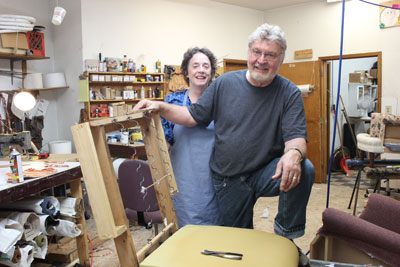 Dianne Revoir and Jerry Meusberger of Bargain Upholstery. (Park Bugle photo by Kristal Leebrick)
