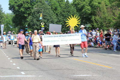 Members of the Transition Town group marched in the Fourth in the Park parade in St. Anthony Park this summer.