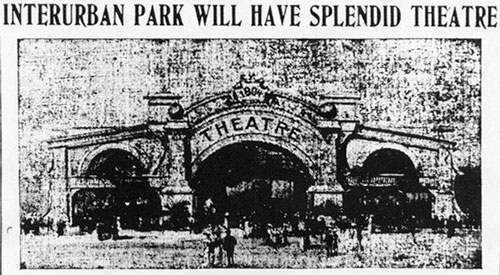 "Murky though the newspaper reproduction was, one gets a sense of the ""high-class"" vaudeville theater planned for the St. Anthony Park site. (Minnesota Historical Society)"