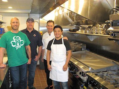 From left, Steve Mars, Scott Mars, Jack Reibel and head chef Billy Ring in the shiny new Paddy Shack kitchen. (Photo by Roger Bergerson}