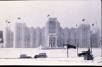The 1937 St. Paul Winter Carnival ice palace near the State Capitol. Photo courtesy of Bob Olsen