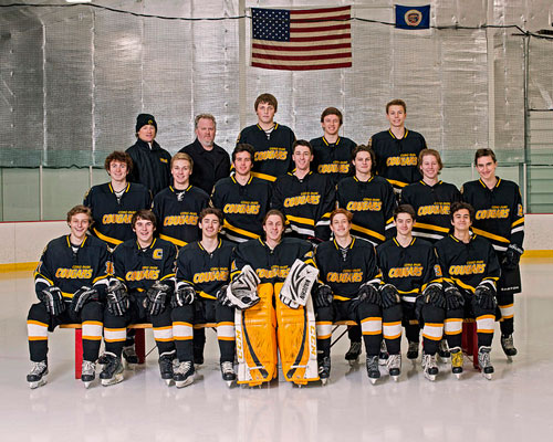 The Como Park varsity hockey team, from left: (first row) Nick Kopic, Richie Gulner, Matt Klein, Carter McCoy, Alec Johnson, Carter Inskeep and George Neisewander; (middle row) Kevin Smith, Adam Swanson, Eliot Berven, Patrick Kolias, Ian Tully, Matt Hageman and Jack Freier; (top row) coach David Bakken, assistant coach Carl Hamre, Charlie Kray, Owen Guetschow and Peter Dadlez. Photo by Mike Krivit
