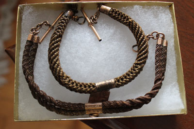 Watch chains made of human hair were common in the Victorian era.