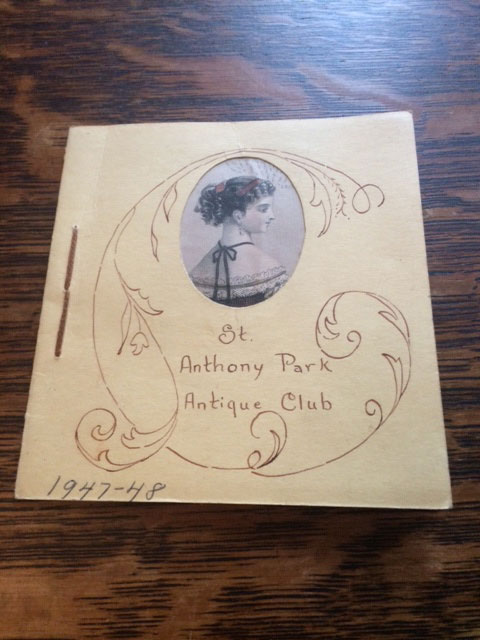 The 1947-48 program of the St. Anthony Park Antique Club.