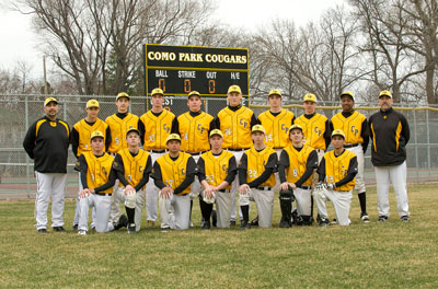 The Como baseball team: front row (L to R), Chris Steinhoff, Alex Ventrilli, Jake Vandome, John Wenger, Alec Johnson, Jacob Barnard and Jorge Mendoza. Top row (L to R): Coach Lenny Franco, Jackson Muehlbauer, Matt Klein, Patrick Kolias, Richie Gulner, Charlie Kray, Kevin Smith, Alex Forstrum, Nate Jackson and coach Matt Smith. Photo by Mike Krivit