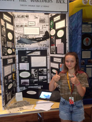 Jillian Brenner received the Salute to Courage Award and a trip to the World War II Museum in New Orleans at the National History Day competition in June. (Photo courtesy of Carrie Newman)