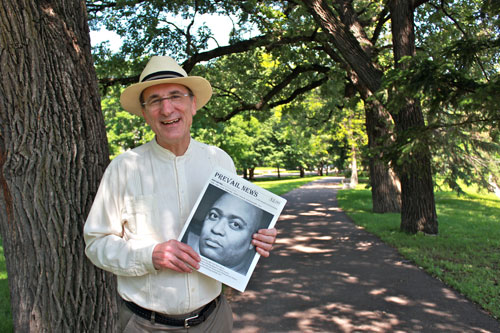 Jerry Sedgewick and the inaugural edition of Prevail News. Photo by Kristal Leebrick