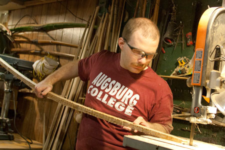 Cameron Christian-Weir roughs a bow in his shop. Photos by Lori Hamilton