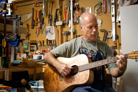 Dave Lee's guitar-making avocation has become his vocation. Photo by Lori Hamilton