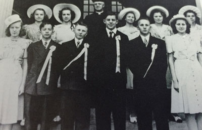 The first graduating class in June 1941. Saint Rose was established before the City of Roseville. At the time, the church and school were in Rose Township. The school's enrollment that first year was 170, and five nuns from the Servite Order staffed the school. Sister Mary Margaret was the principal and taught the seventh and eighth grades. The other nuns taught two grades each.
