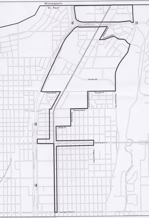 The proposed Ward 4 Green Line Commercial Development District would extend along University Avenue to Snelling Avenue and north on Snelling a half block east and west to Englewood Avenue and one block west of Snelling to I 94. It would extend several blocks north and south, starting at Aldine Street and include former industrial sites that are being converted for mixed-use redevelopment, including the area on Prior Avenue, where Can Can Wonderland is opening an indoor mini-golf course and entertainment venue in a former can factory. The area would include south St. Anthony Park, from Transfer Road to the Minneapolis border and I 94 to Pierce Butler Route. The section stretching east from Snelling to Lexington on the map at left is in Ward 1 and would be included in the district.