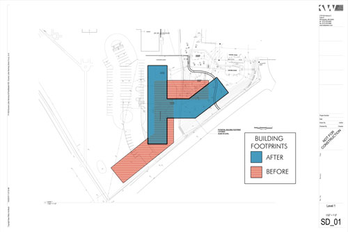This drawing shows the original site plan (lighter shade) for the senior housing co-op along Luther Place on the east end of Luther Seminary's campus. New plans have the building on the site north of the current parking lot where three seminary houses now stand.