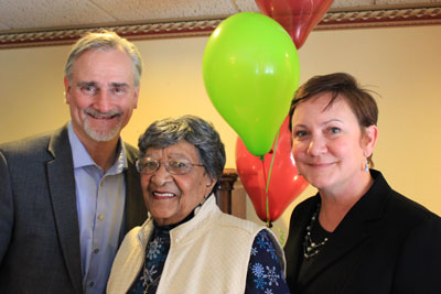 Alan Arthur, CEO of nonprofit housing developer Aeon; Janet Troutman-Simmons, chair of the tenant's group at Como by the Lake apartments; and St. Paul's Ward 5 councilmember Amy Brendmoen were on hand Jan. 14 to celebrate Aeon's purchase of the apartment building.