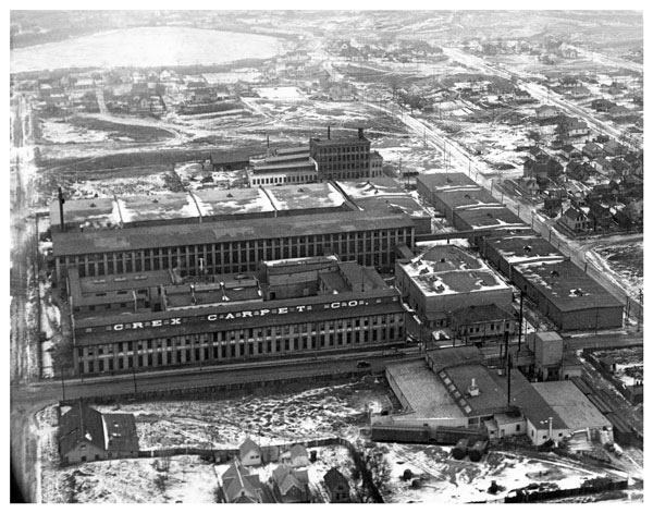 The Crex plant in 1928, looking north across Front Avenue. The pond at the top of the photo is likely the one in today's Marydale Park. Photo courtesy of the Minnesota Historical Society