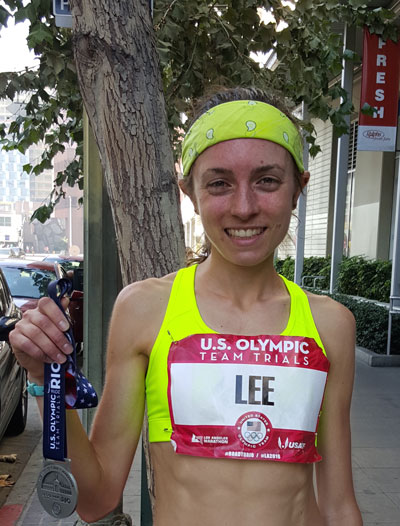Emma Lee just after the Olympic marathon trials in Los Angeles.