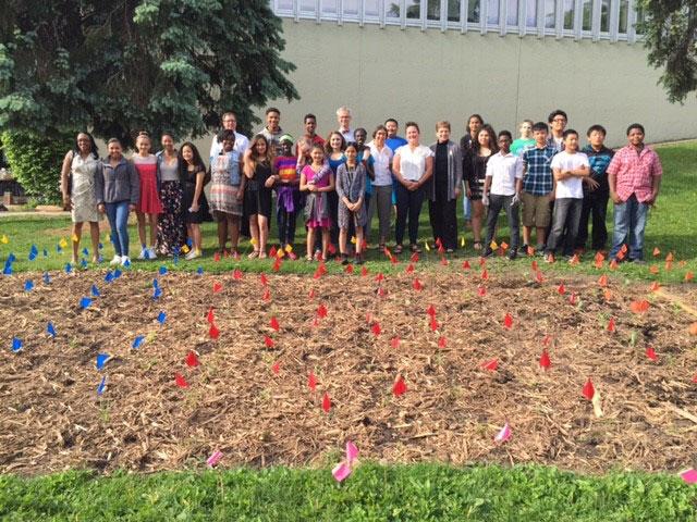 Murray's freshly planted, student-designed pollinator garden.