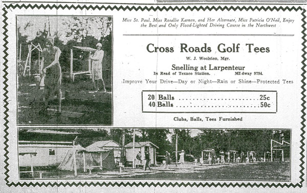 There were several driving ranges and at least one miniature golf course operating around the Snelling and Larpenteur avenue intersection during the 1920s and 1930s. The Cross Roads range was on the northwest corner and the few nearby residents complained of the lights at night.