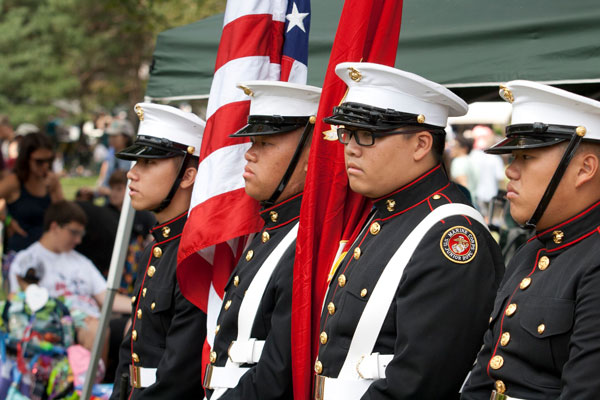 Como Park Senior High School Marine Corp JROTC color guard at the opening ceremonies at Langford Park. Photo by Lori Hamilton
