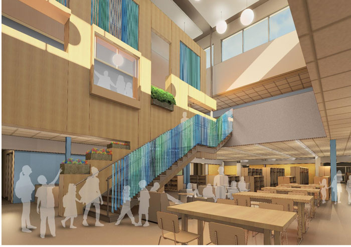 The interior of the school will be extensively remodeled. Shown here is the schematic design of the media commons in the center of the building. Adding more natural light to all areas is a key part of the redesign. Cunningham Group Architecture