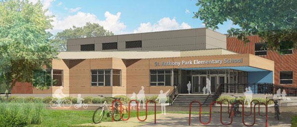 Plans for the remodel of St. Anthony Park Elementary include a more welcoming, safe and visible front entrance. Cunningham Group Architecture
