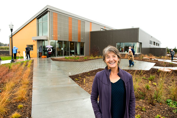 Marla Spivak, Distinguished McKnight Professor in the Department of Entomology, stands in front of the Bee and Pollinator Research Lab at the University of Minnesota. Photos by Patrick O'Leary, University of Minnesota