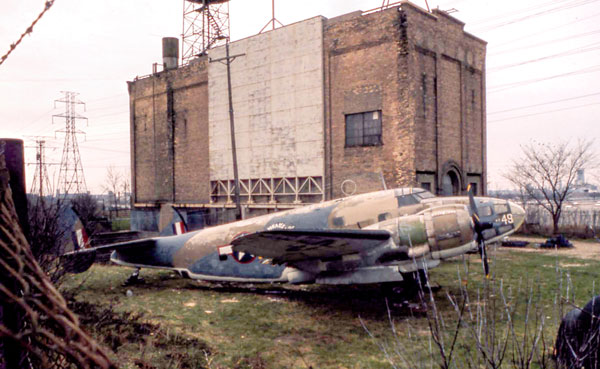 The bomber at the Lightning and Transients Research Institute on the northwest corner of the Highway 280 and Larpenteur Avenue intersection in 1971. Photo courtesy of the Minnesota Aviation Hall of Fame